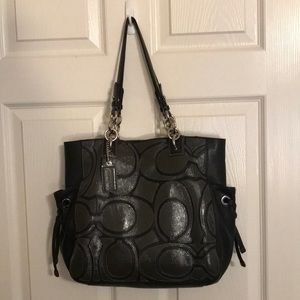 Coach Colette Leather Signature Overlay Tote